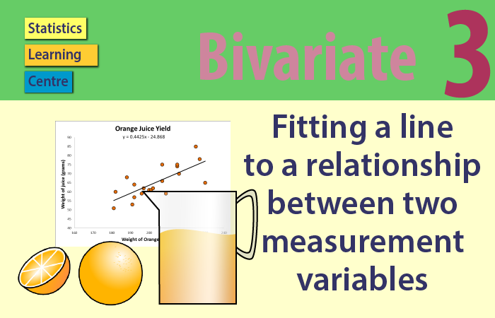 Bivariate - Fitting a line to a relationship between two measurement variables
